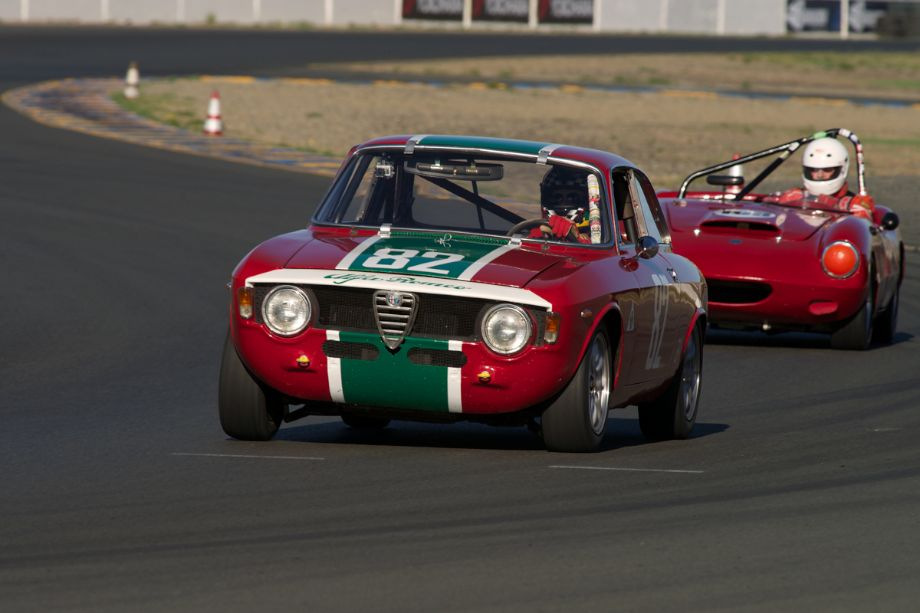 Brian Mertz's 1967 Alfa Romeo Giulia Sprint in turn ten during Saturday morning's group 2 practice.