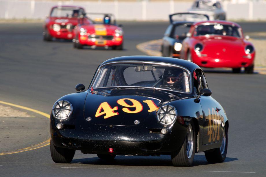 Alec Hugo's 1962 Porsche 356B in turn ten.