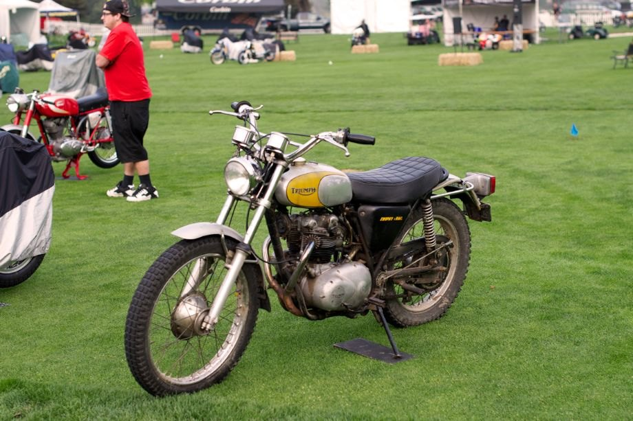500cc twin Triumph TR5 Trophy Trail. TR5 was a trials machine designed for off road use with a high two into one exhaust and good handling on public roads. It is a Triumph Trophy Trail bike that is often shown with James Dean.