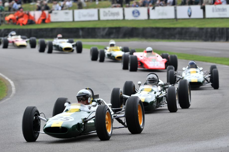 Lotus 25 leads a great selection of single-seater cars driven by Clark
