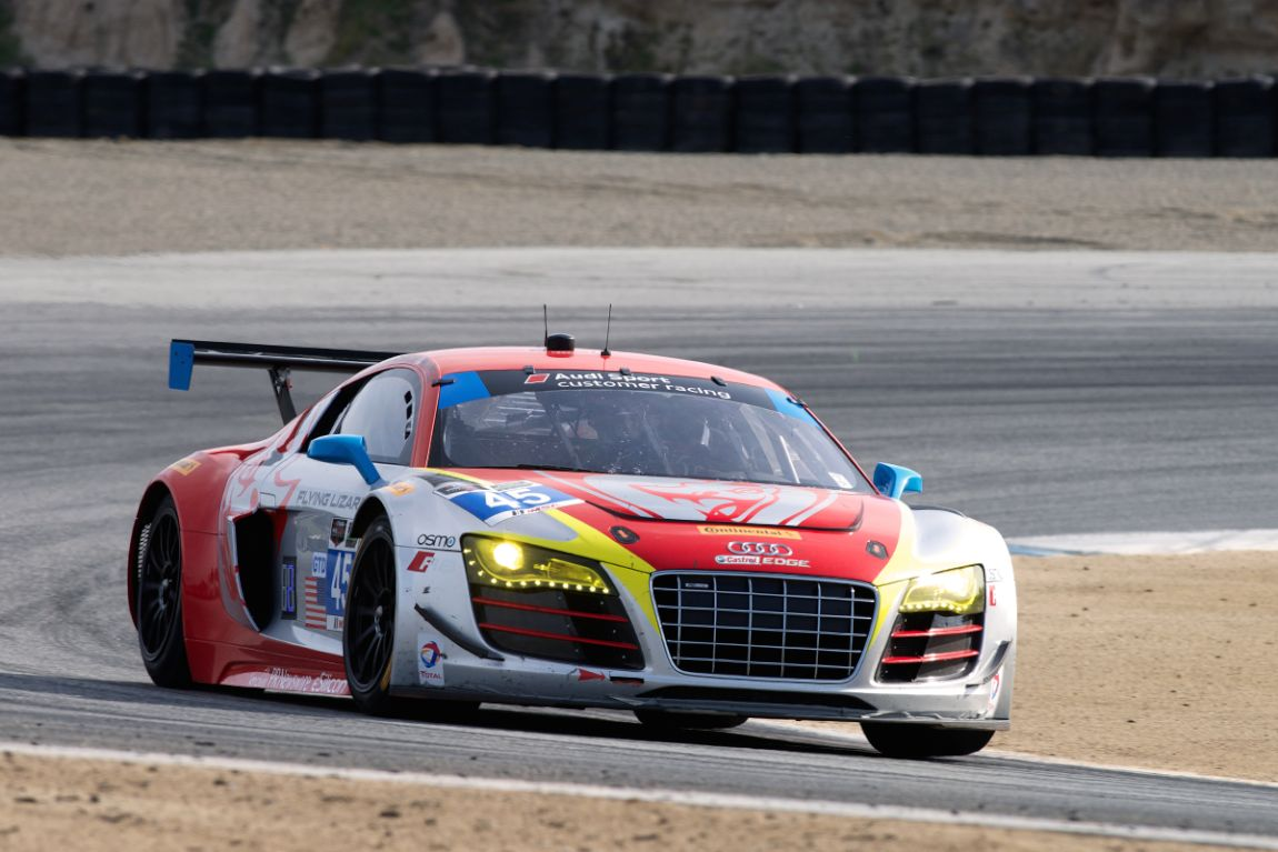 Flying Lizard Mogtorsport's Nelson Canache Jr. and Spencer Pumpelly drove the #45 Audi R8 LMS. Here in turn two late Saturday afternoon.