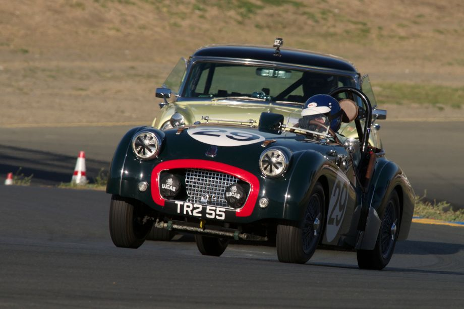 1955 Triumph TR2 driven by David Nelson entering turn two.