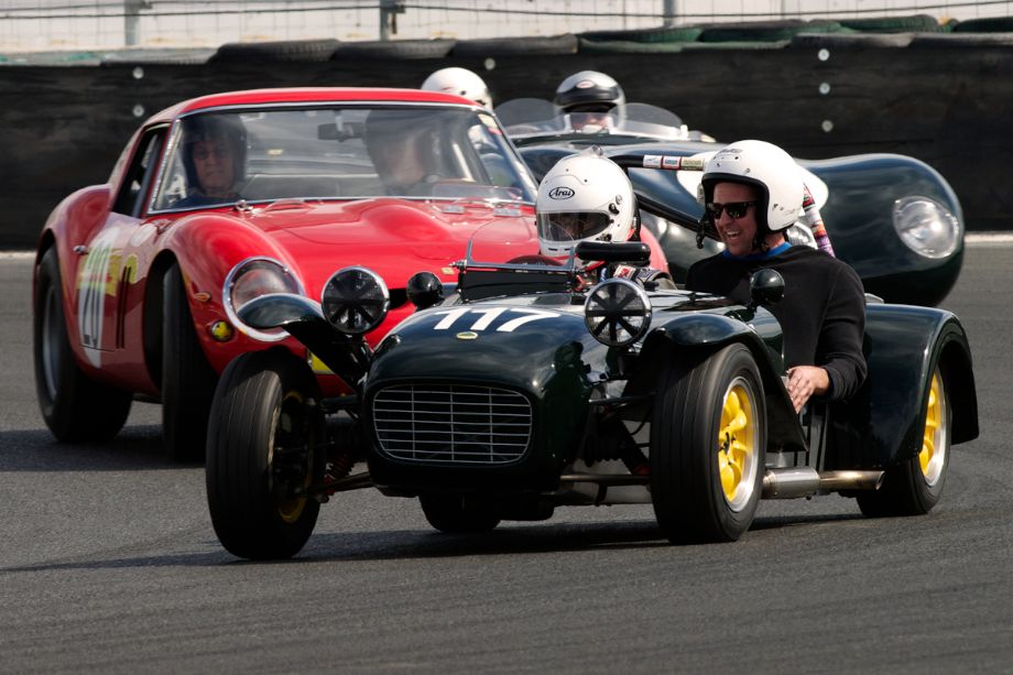 Charity Challenge. Robin Davis' 1965 Lotus S7 followed by the Tom Price/Peter Giddings Ferrari 250 GTO and a C-Type Jaguar.