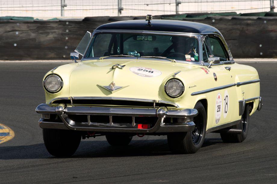 1954 Lincoln Capri driven by Jeff Lotman in turn eleven.