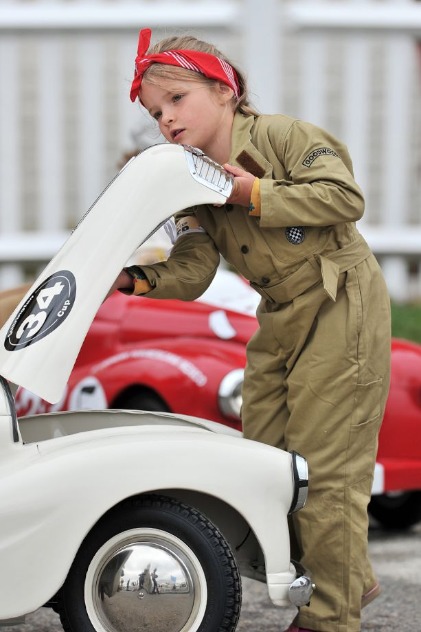 Preparing for the Austin J40 pedal car race at Goodwood Revival 2013 - Behind the Scenes