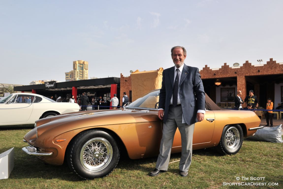 Valentino Balboni with the 1965 Lamborghini 350 GTS Spider