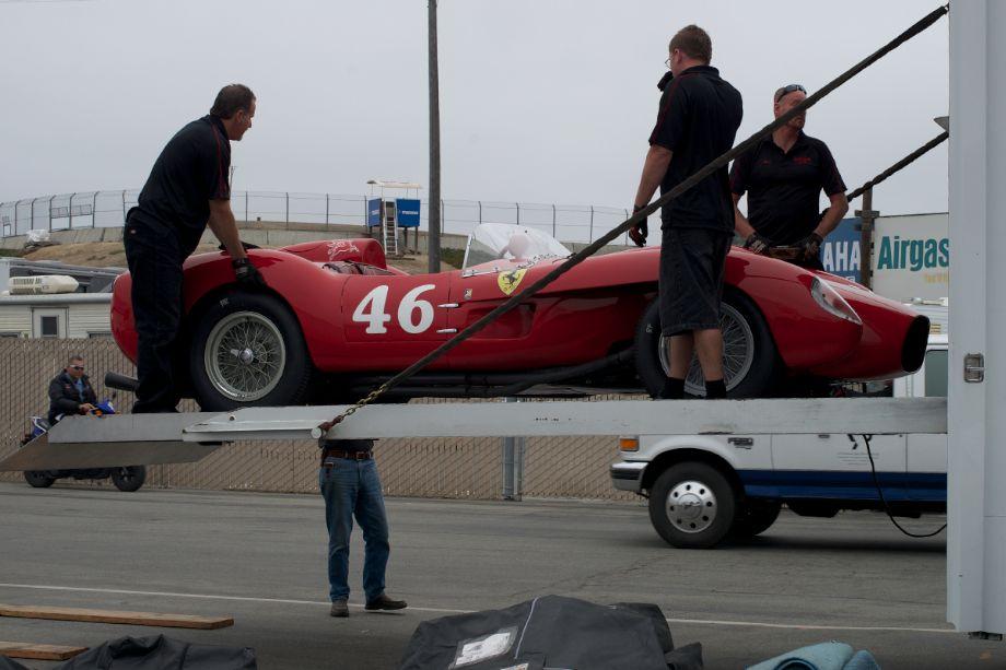 Ferrari 250 Testa Rossa comes off a transport.