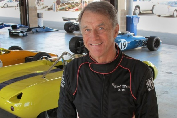 Carl Moore in the Infineon garage where he prepped his Lotus 23B for the CSRG Opener.  William Edgar Photo