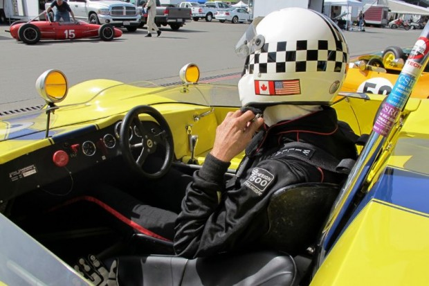 Carl Moore in his Lotus 23B, ready to go to Infineon's start grid for his Sunday race.  William Edgar Photo