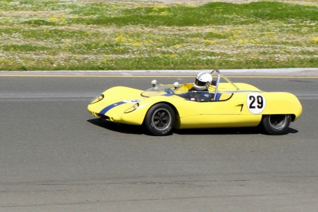 Carl Moore in his Lotus 23B during the Group D race at CSRG's Opener, going strong.  Graham Blake Photo