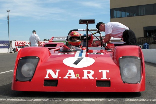 John Goodman ready for his Sunday Group F race, as crew chief Walter Gerber attended to the Ferrari.  William Edgar Photo