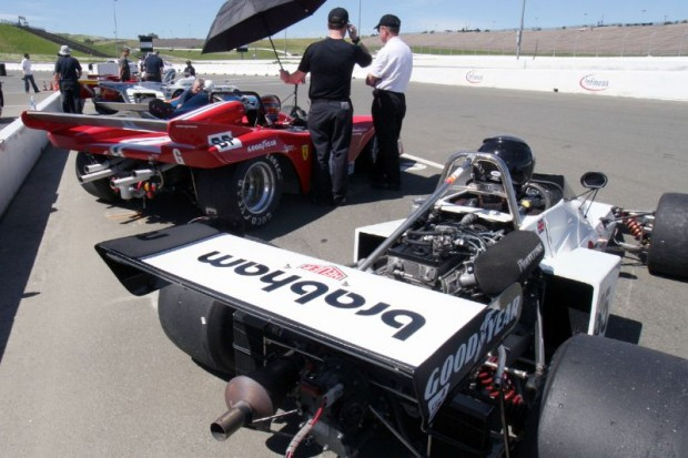 John Goodman's red Ferrari among the competition, moments before the Group F race.  William Edgar Photo
