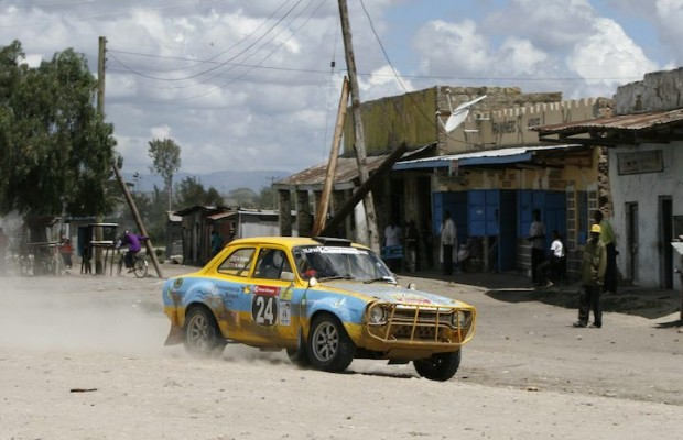 Aziz Tejpar drives his Ford Escort RS 1600 MK I through village