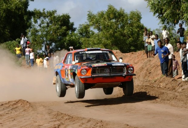 Spectators delight in watch overall winner Ian Duncan jump his Ford Mustang