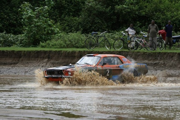 Overall winner Ian Duncan crosses water with his Ford Mustang