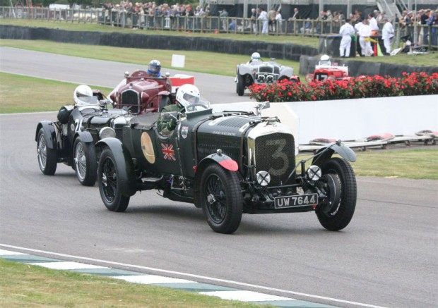 Stanley Mann's Bentley 4 1/2 Litre Le Mans leads them out of the chicane; photo credit: Peter Brown