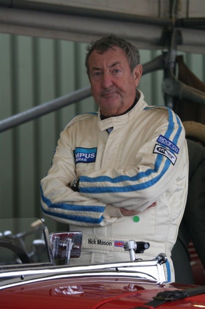 Brooklands Trophy winner Nick Mason smile for the camera; photo credit: Peter Brown