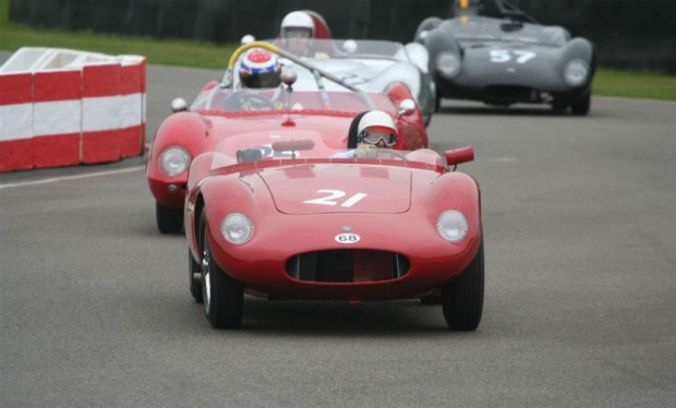 Sir Stirling Moss leads them into the chicane with his OSCA FS372; photo credit: Peter Brown