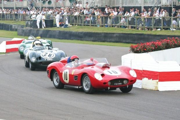Barazi/Moseley Ferrari 246 Dino leads Llewellyn/Lynn Tojeiro-Jaguar and Bronson/Wenman Lister-Jaguar 'Costin'; photo credit: Peter Brown
