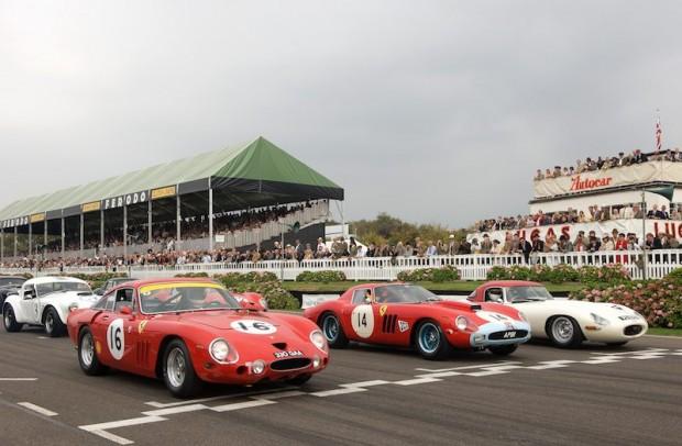 Front row includes Ferrari 330 LMB, Ferrari 250 GTO/64 and Jaguar E-type Lightweight