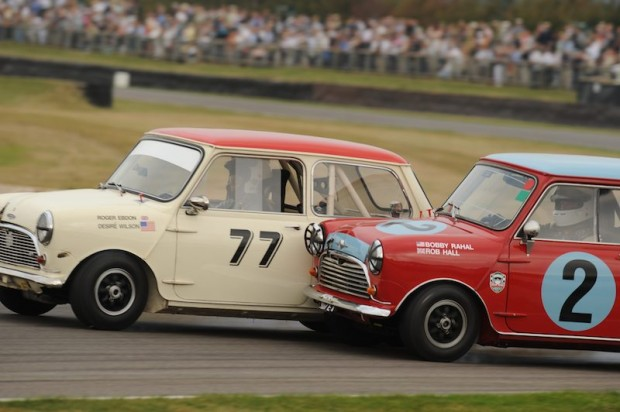 Roger Ebdon (left) in his Austin Mini Cooper S gives a little love to Rob Hall - Morris Mini Cooper S