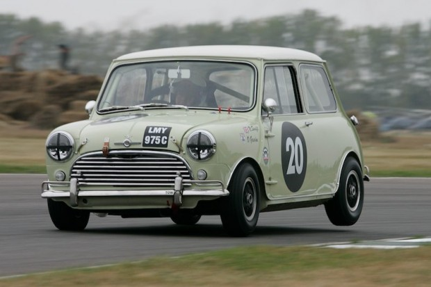Overall winner Nick Swift lifts a wheel in his Morris Mini Cooper S