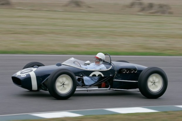 Sir Stirling Moss driving Lotus 18