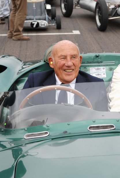 Sir Stirling Moss behind the wheel of Aston Martin DBR1