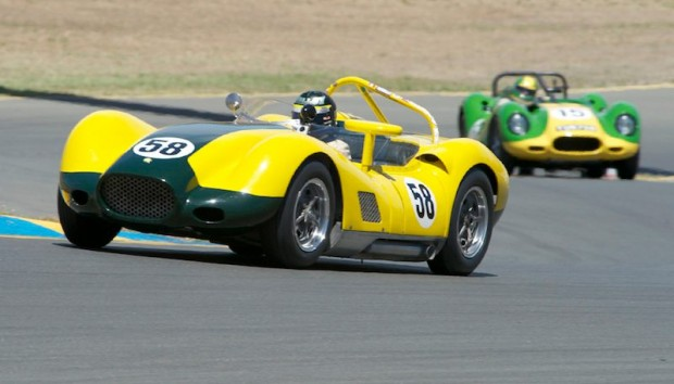 Nick Colonna's Lister Chevy leads Brent Backman's Lister Jaguar
