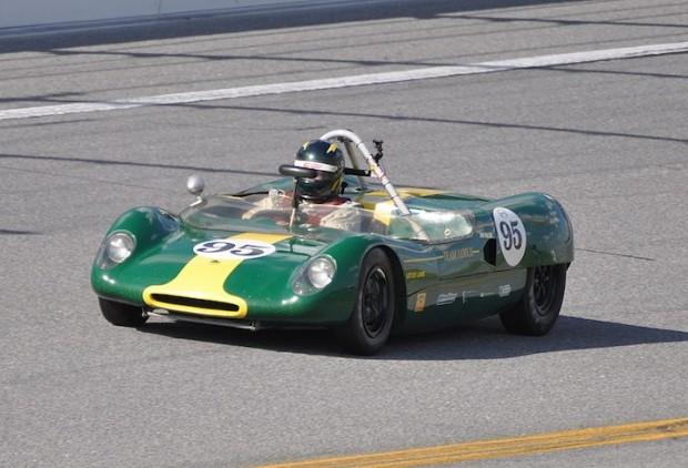 Robert Boller in his 1963 Lotus 23B approaching turn one.