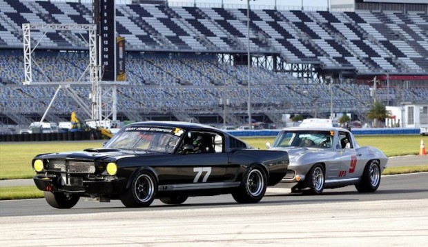 Jeff McKain of Virginia Beach, VA in his 1965 Shelby GT350 and J.P. Griffin from Secalia, CO in his 1964 Corvette during qualifying for the Classic GT race.