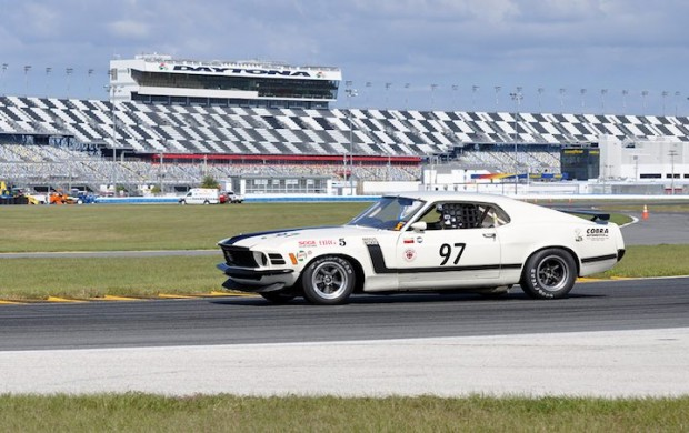 1970 Boss 302 Mustang is being driven by Leo Voyazides in the International American GT Challenge.
