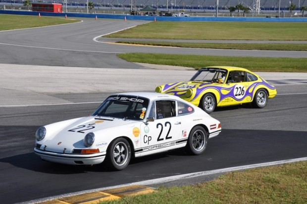 The Ronnie Randall/Jack Refenning 1967 Porsche 911S leads the colorful 1969 Porsche 911S of Juan Lopez-Santini in the Rolex Vintage Enduro.  #226 finished third and the #22 Porsche finished seventh.
