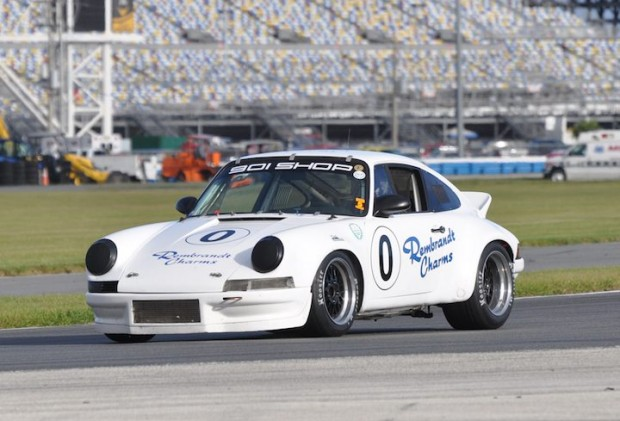 Eric Lux of Williamsville, NY in his first place 1973 Porsche 911 RSR.  Eric won the Classic GT race.