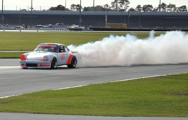 1974 Porsche 911 of Richard Spaeth of Lakeland, FL blowing his engine in a big way on the infield road course
