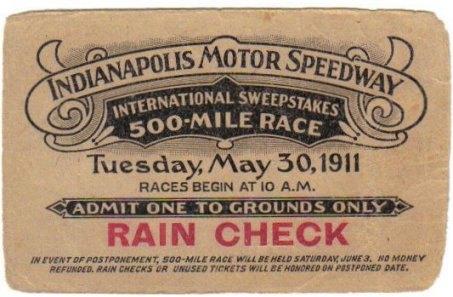 1911 Indianapolis 500 Ticket