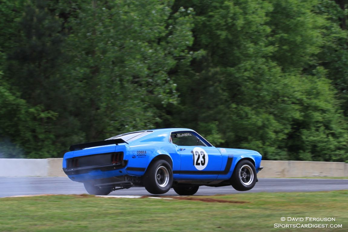 Curt Vogt displaying his hard charging driving style with his 70 Ford Boss 302.