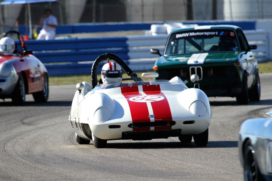 Michael Oritt in the middle of the action in his 1959 Elva MK IV.