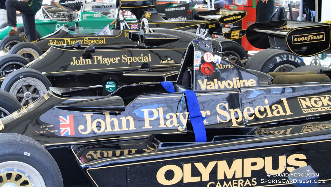 Three Lotus F-1 cars waiting for action.