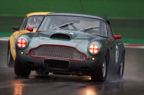 Aston Martin DB4 in the wet at Spa