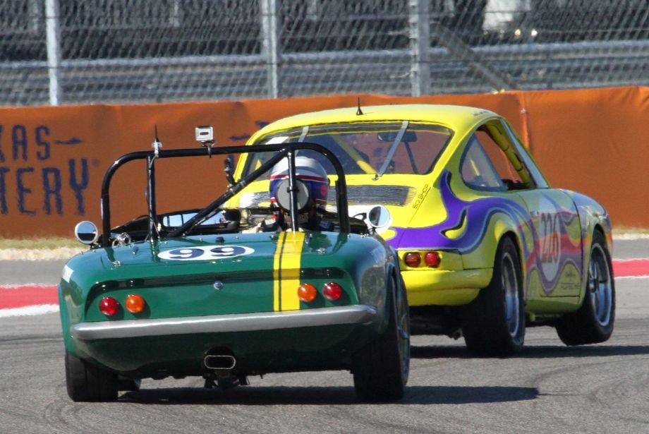 Bob Leitzinger, 1965 Lotus Elan follows Juan Lopez-Santini's 1969 Porsche 911S