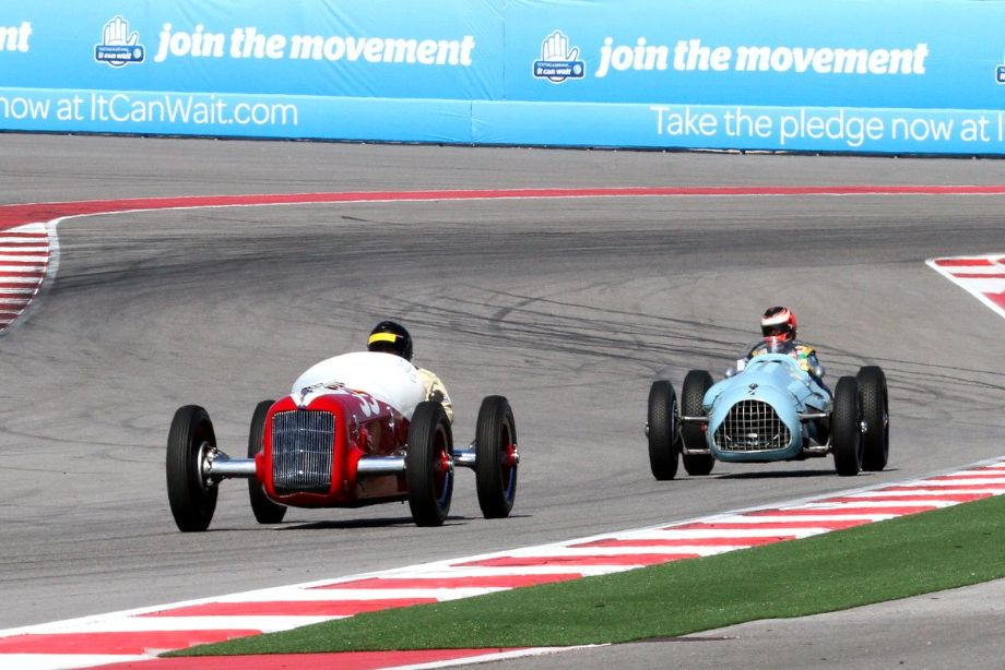 Tom Malloy in his 1935 Miller-Ford Indy races with Denis Bigioni in his 1948 Talbot-Lago T26 Grand Prix car.
