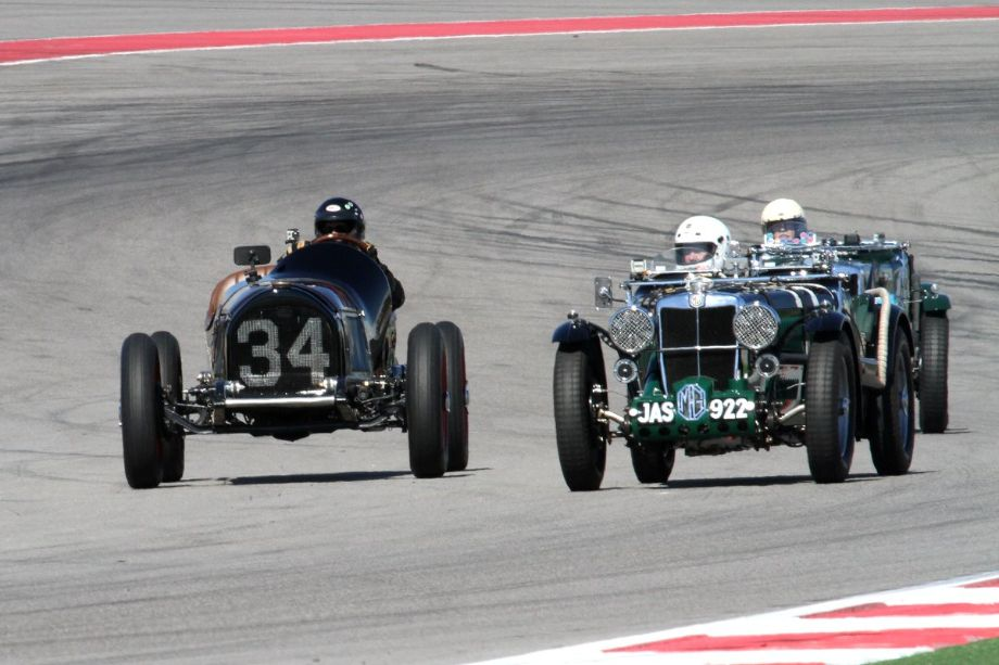 Reed Yates, in his 1935 MG type N leads Robert Sterling's 1934 MG type N by Tony Parella's 1934 Chevrolet