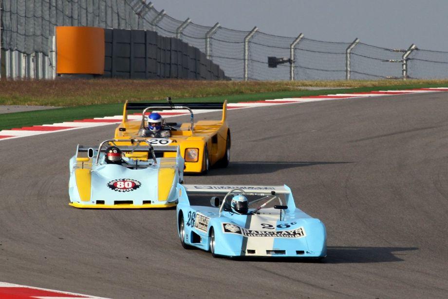 Robert Gritten, Lola T292, Randy Johnson, Lola T296 and Gray Gregory, Chevron B26 race down turn 10.