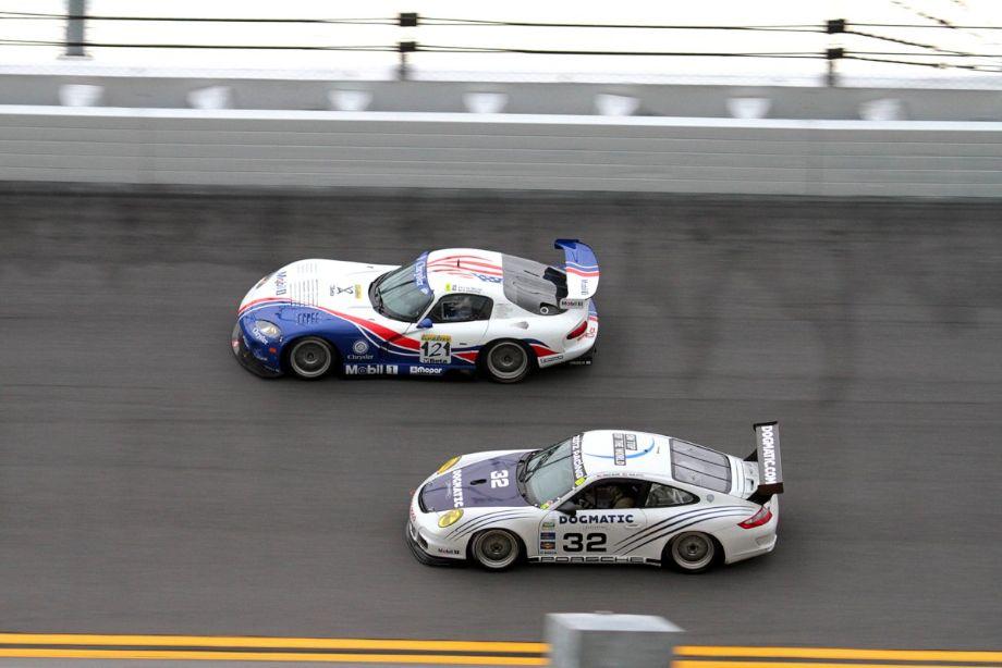 Viper and Porsche on Daytona's famous banking.