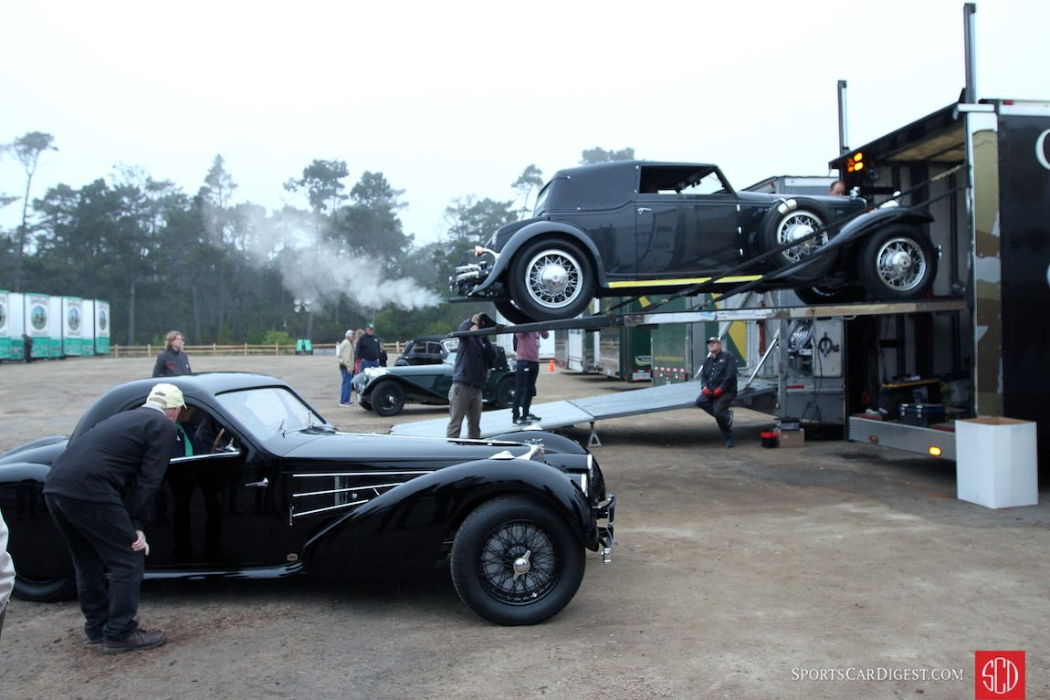 Unloading before the 2016 Pebble Beach Tour d'Elegance