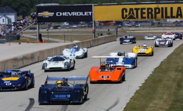 Start of the Can-Am race at 2012 Hawk with Brian Redman
