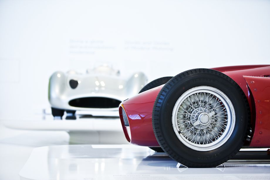 1956 Lancia Ferrari D50 and 1954 Mercedes-Benz W196, both world championship title winners at the hands of Juan Manuel Fangio