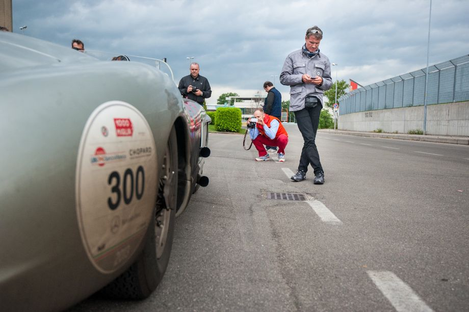 David Coulthard outside the 1955 Mercedes-Benz 300 SLR