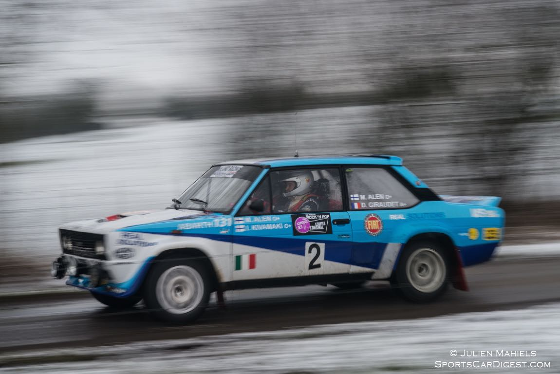 Fiat Abarth 131 Rally driven by Markku Alen, the Finnish driver that once held the record for most stage wins in the World Rally Championship